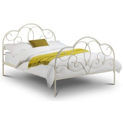 Shabby Chic French Style Off White Double Sleigh Bed.