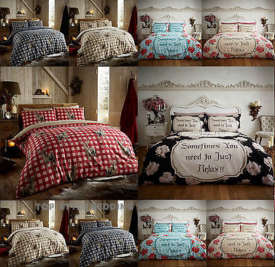 Luxury Thermal Flannelette 100% Brushed Cotton Duvet Cover Bedding Set