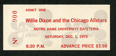 Original 1973 Willie Dixon Chicago Allstars unused concert ticket Notre Dame