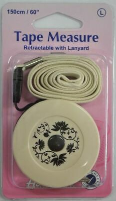"HEMLINE RETRACTABLE TAPE MEASURE WITH LANYARD, 150cm, 60"", METRIC & IMPERIAL"