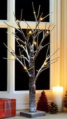 Snowy Light-Up Twig Tree 60Cm/2Ft Brown/white Christmas Led Lights Winter Snow