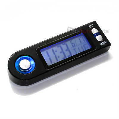 Blue LED Lighted Digital Clock/Calendar for Car-Truck-Bike-Scooter Interior Dash