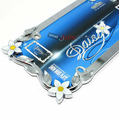 Chrome Daisy Flowers Metal License Plate Tag Frame for Auto-Car-Truck