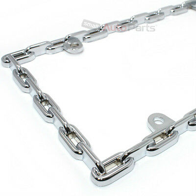 Chrome Chain Link Metal Custom License Plate Tag Frame for Auto-Car-Truck-SUV