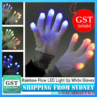 7 Modes Rainbow Flow LED Light Up White Gloves Rave Party Glow Games Night Fun