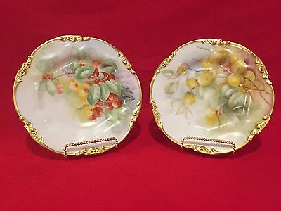 Two Stunning Jean Poyat Limoges (J.p.l) Antique Plates Artist Signed