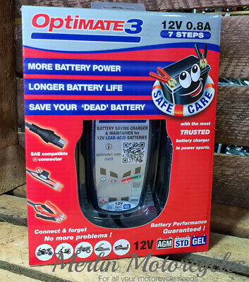 Optimate 3 12V Motorcycle Battery Charger & Tester New Model 33% More power
