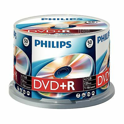 Philips Dvd+R 120 Min Video 4.7Gb Data 16X Speed Blank Disc - 50 Pack Spindle