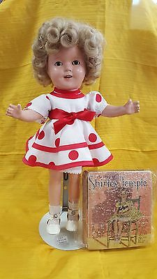 """Vtg 1930's Shirley Temple 13"""" Composition Doll, Ideal & 1934 Shirley Temple Book"""