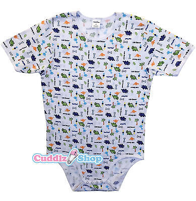 Cuddlz Short Dinosaur Pattern Cotton Adult Baby Grow Romper ABDL Body Suit