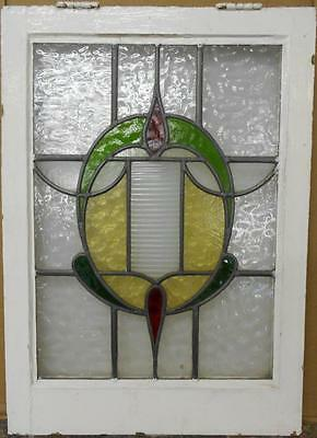 "MID SIZED OLD ENGLISH LEADED STAINED GLASS WINDOW Gorgeous Oval 19.25"" x 27"""