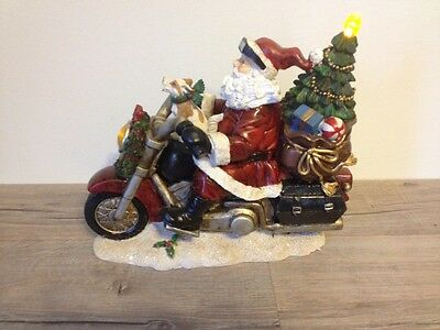 LED Resin Santa On Motorcycle With Dog, New, Awesome Piece!