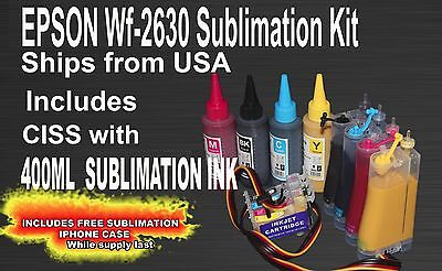 CISS Sublimation Ink Kit Fits Epson WF2630 100ml Bottles Ink Included
