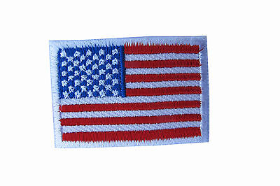 American Flag,US Flag White Border Embroidery Iron On Patch-Small 1-5/8""