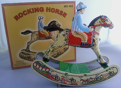 Tin Toy Rocking Horse Wind Up Collectable