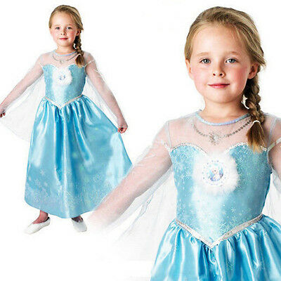 Girl Frozen Dress Costume Disney Princess Queen Elsa Party Birthday size 1-8Yrs