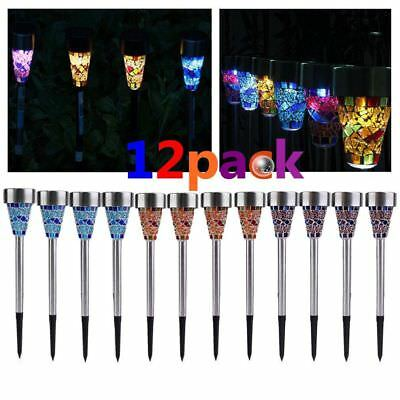 12pcs Outdoor Stainless Steel Led Solar Power Lights Lawn Landscape Path Light