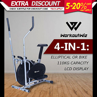 Workout Wiz 4in1 Elliptical Cross Trainer Exercise Bike Home Gym Fitness Machine