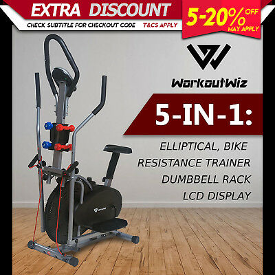 Workout Wiz 5in1 Elliptical Cross Trainer Exercise Bike Home Gym Fitness Machine