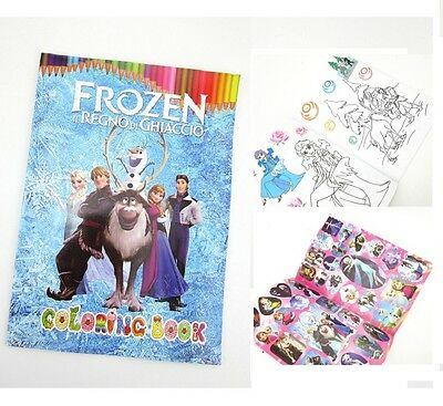 Frozen Coloring Book Party Gift Fun For Kids 13.5x20cm 16 Pages With Sticker New