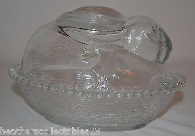 Vintage Indiana Clear Glass Easter Bunny Rabbit Dish Nest Textured Covered