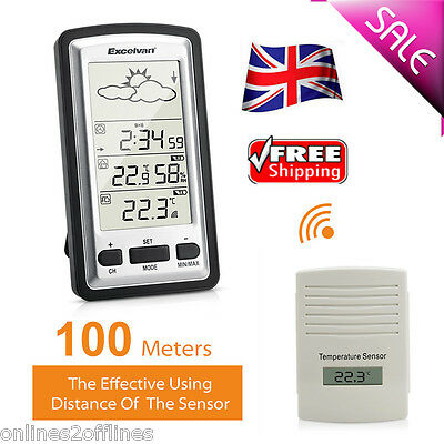 LCD Digital Wireless Temperature Weather Station Indoor Outdoor Humidity Alarm