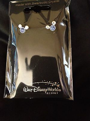 Disney Swarovski Crystal Blue Mickey HEAD Post Earrings