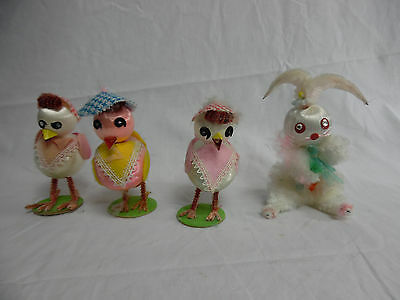Lot of 4 Vintage Easter Holiday Pipe Cleaner Ornaments Bunny Chicks