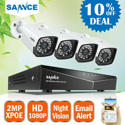 SANNCE 4CH HD 1920* 1080P NVR POE Security IP Camera Kit System Network Outdoor