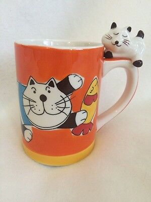 Indra Stoneware Cat Coffee Mug Cup Hand Painted In Thailand Unique Tea Glass