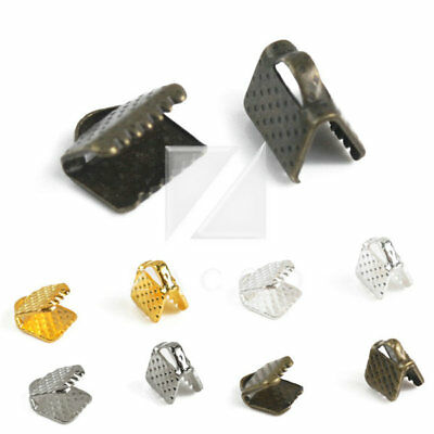 30g Wholesale Nickel Plated Iron DIY Ribbon Beads End Caps Crimp 6/20/25/30mm