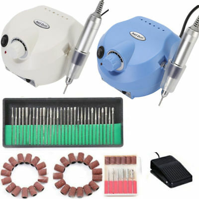 30,000 RPM White Electric Nail Art Drill File Grinding Bits Machine Manicure Kit