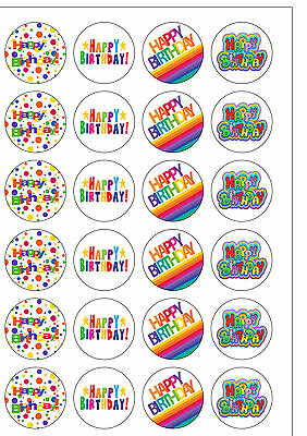 24 PRECUT Edible Wafer Paper Bright Happy Birthday Cupcake Cake Toppers
