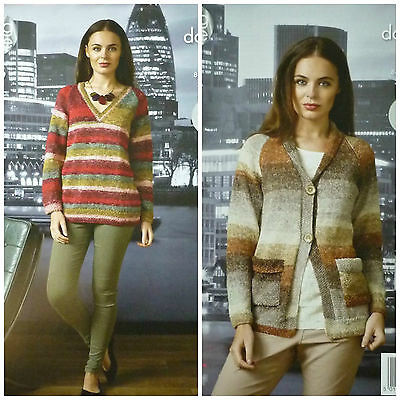KNITTING PATTERN Ladies Easy Knit V-Neck Long Jumper & Jacket DK King Cole 4380