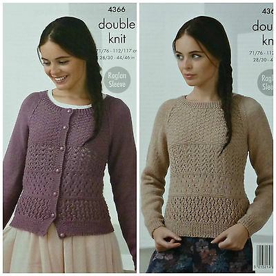 KNITTING PATTERN Ladies Raglan Sleeve Lacy Cardigan & Jumper DK King Cole 4366