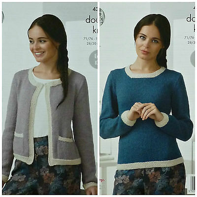 KNITTING PATTERN Ladies Long Sleeve 2Colour Box Jacket Pockets DK King Cole 4367