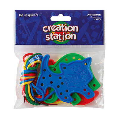 4 Plastic Animal Shape with end seal 75 cm Lacing Thread Creation Station CW7530