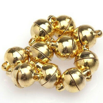 10X Silver/Gold Plated Round Beads Magnetic Clasps 6/8mm For Jewelry Making CAEF