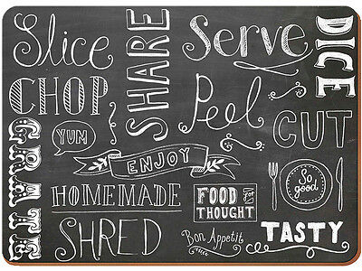 Set of 4 EVERYDAY HOME Chalkboard Design CORK-BACKED PLACEMATS