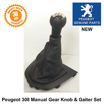 Brand New Genuine Peugeot 308 5 speed Leather Gear Knob & Gaiter Set