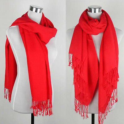 Fashion Wedding Party Solid Scarf Stole Wrap 70% Pashmina 30% Silk Christmas Red