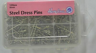 HEMLINE STEEL DRESS PINS 30mm, 1200pcs, 6 CAVITY STORAGE BOX, STAINLESS STEEL