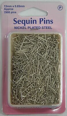 Hemline Sequin Pins Nickle Plated Steel Bulk 100g Approx 2900 Pins 13mm x 0.65mm