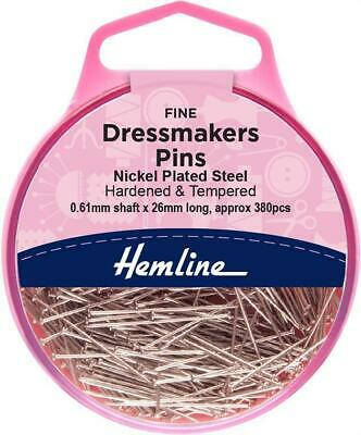 HEMLINE DRESSMAKER PINS DIPPED HEAD 26mm X 0.61mm, APPROX 380 PINS NICKLE PLATED