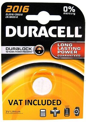 2 x Duracell CR2016 3V Lithium Coin Cell Battery 2016