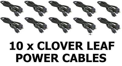 10 x Clover Leaf Cord Plug 3-Pin 1.5m/2m Power Lead Cable Laptop Notebook Mickey