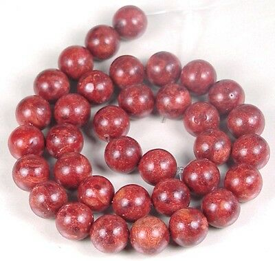 """12mm Red Sponge Coral Round Beads 15"""""""