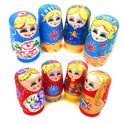New 5Pcs Wooden Russian Nesting Dolls Babushka Matryoshka Set Hand Painted Gift