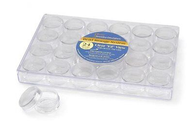 Darice 2025-251 Clear Bead Container with 24 Storage Jars Size: 1-Pack NEW (AOI)