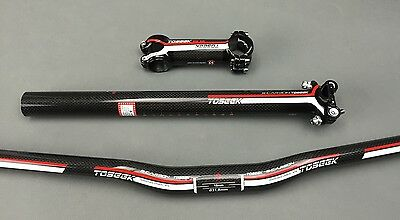 New Carbon Fiber MTB Mountain Bike Road Bicycle Handlebar Stem Seatpost  31.8mm